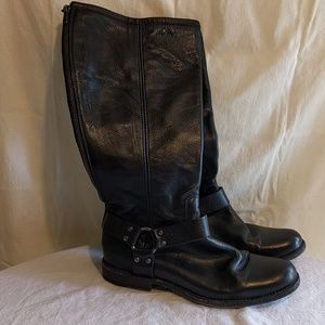 Frye Phillip extended calf black leather boots 9.5